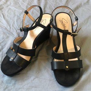 Soft Moc leather black strap wedge sandal size 10